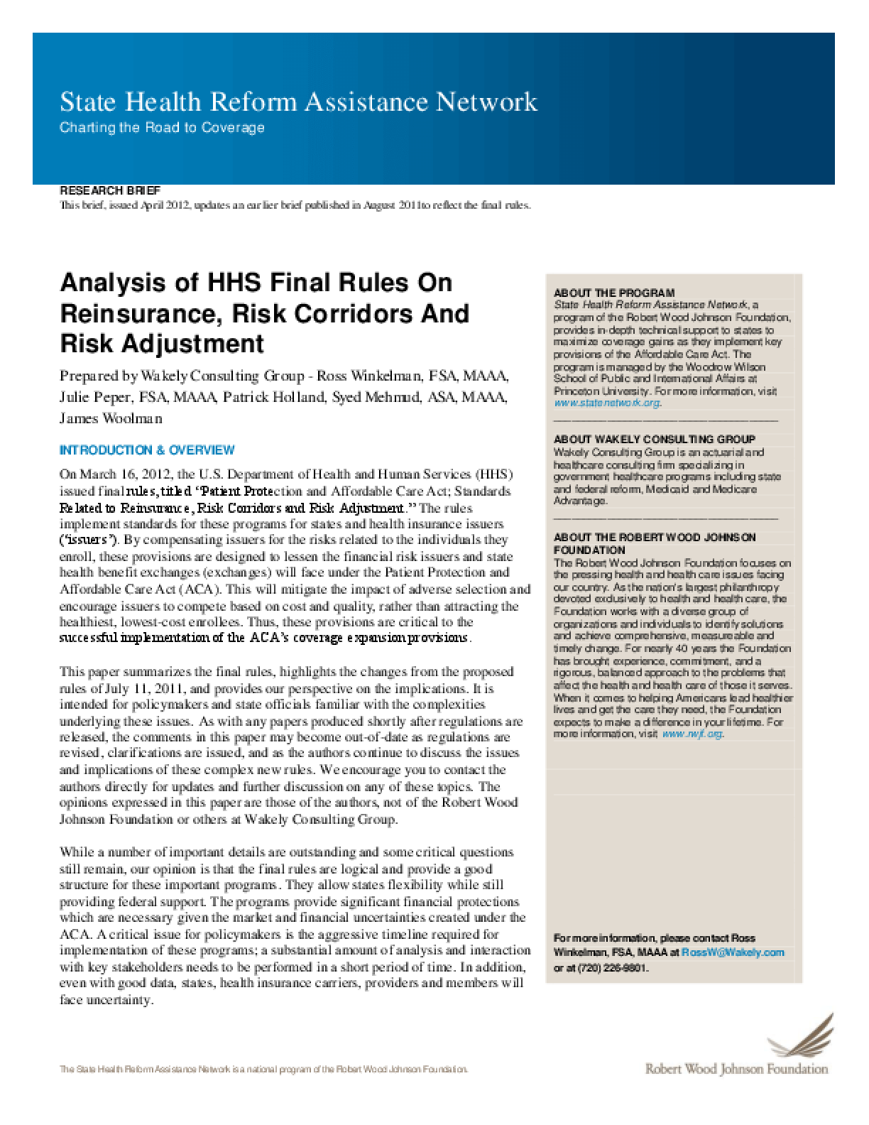 Analysis of HHS Final Rules on Reinsurance, Risk Corridors and Risk Adjustment