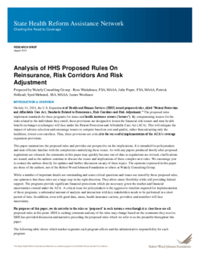 Analysis of HHS Proposed Rules on Reinsurance, Risk Corridors and Risk Adjustment