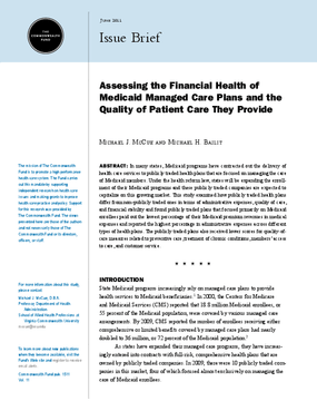 Assessing the Financial Health of Medicaid Managed Care Plans and the Quality of Patient Care They Provide