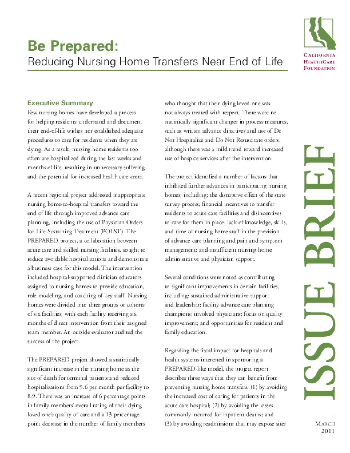 Be Prepared: Reducing Nursing Home Transfers Near End of Life