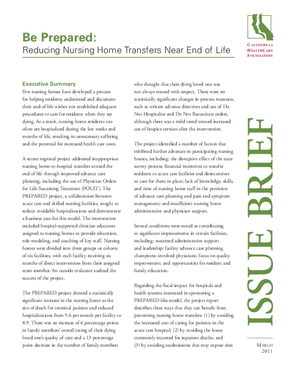 Be Prepared: Reducing Nursing Home Transfers Near End of Life