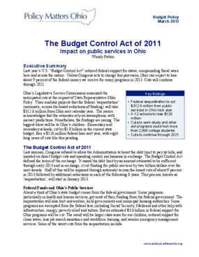 The Budget Control Act of 2011: Impact on Public Services in Ohio