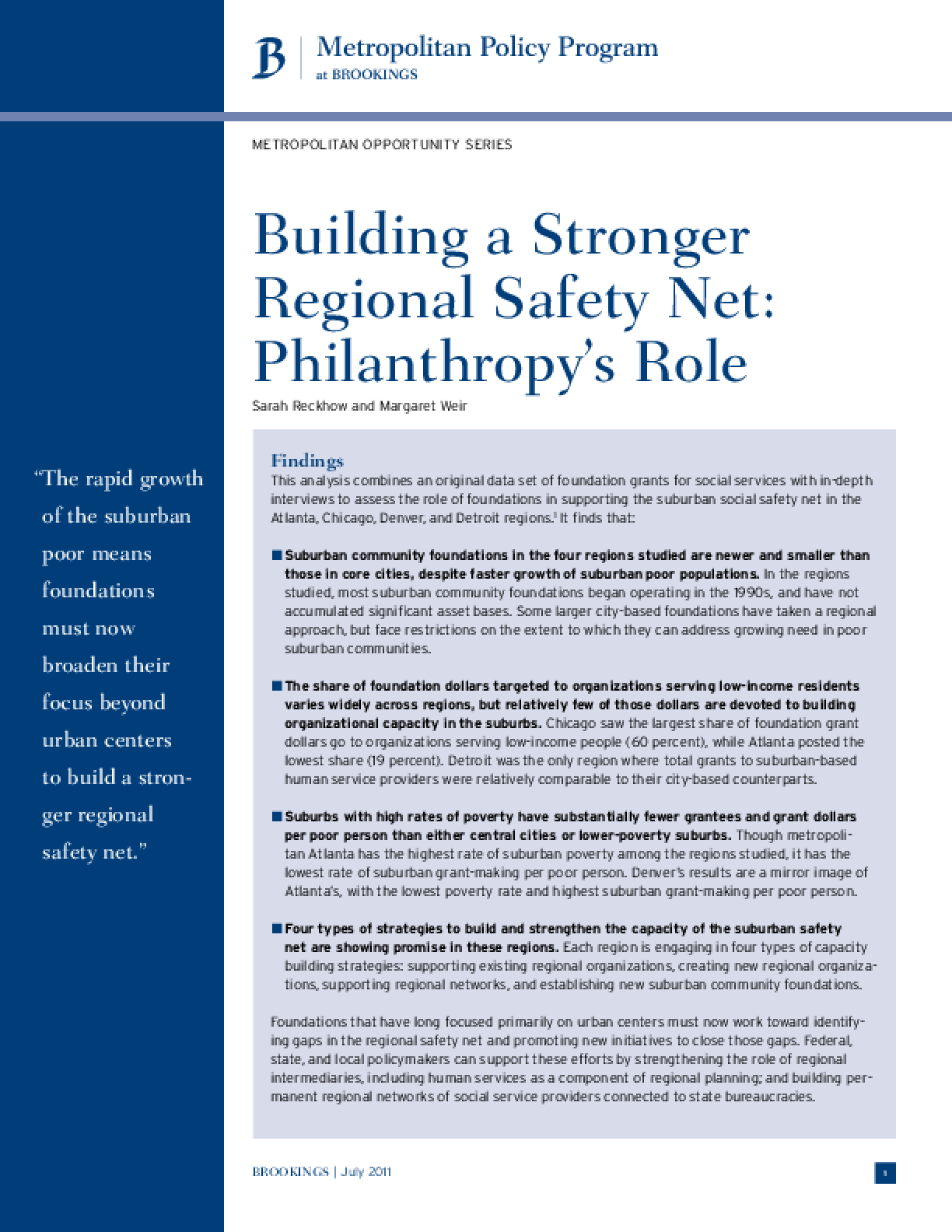 Building a Stronger Regional Safety Net: Philanthropy's Role