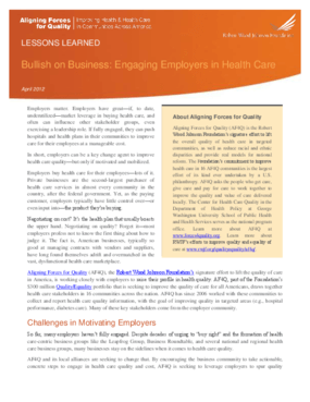 Bullish on Business: Engaging Employers in Health Care