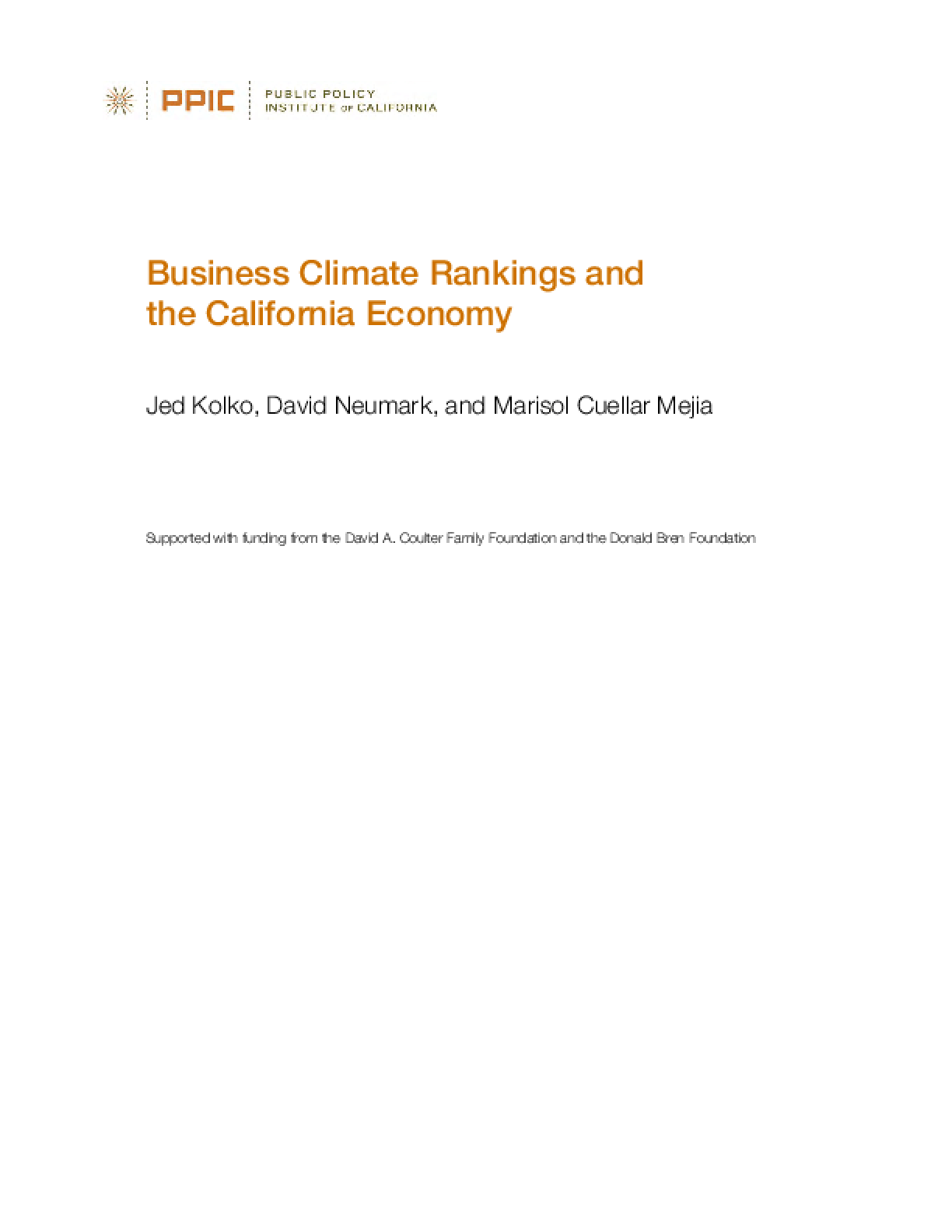 Business Climate Rankings and the California Economy