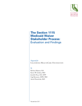 California's 2010 Medicaid Waiver Stakeholder Process: Impact and Lessons Learned