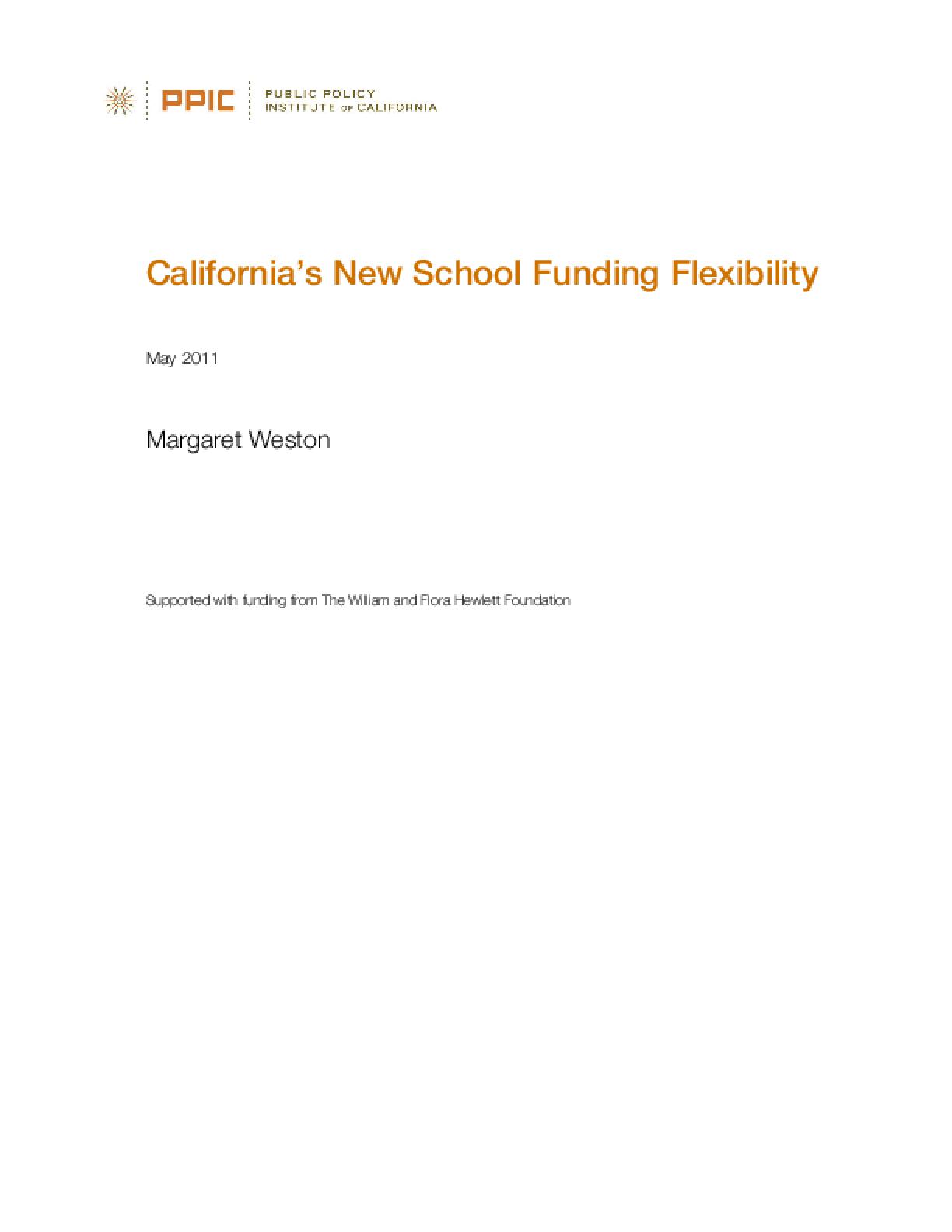 California's New School Funding Flexibility