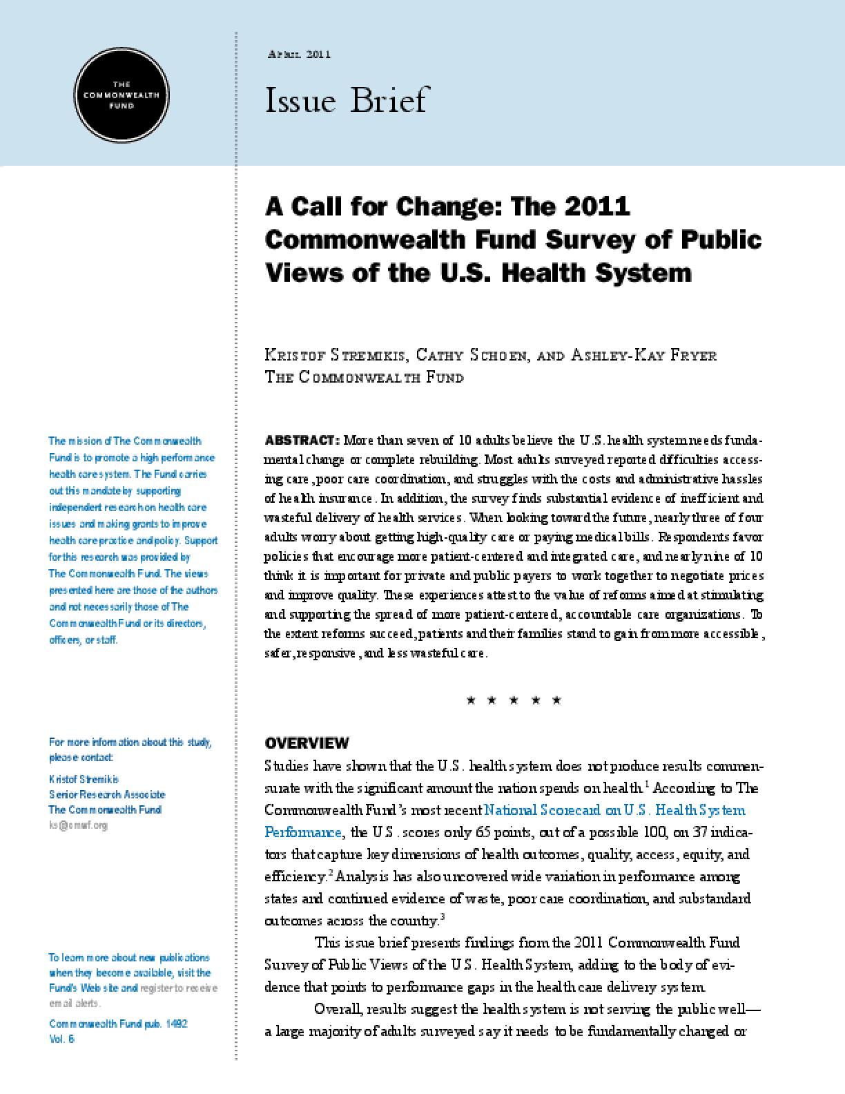 A Call for Change: The 2011 Commonwealth Fund Survey of Public Views of the U.S. Health System