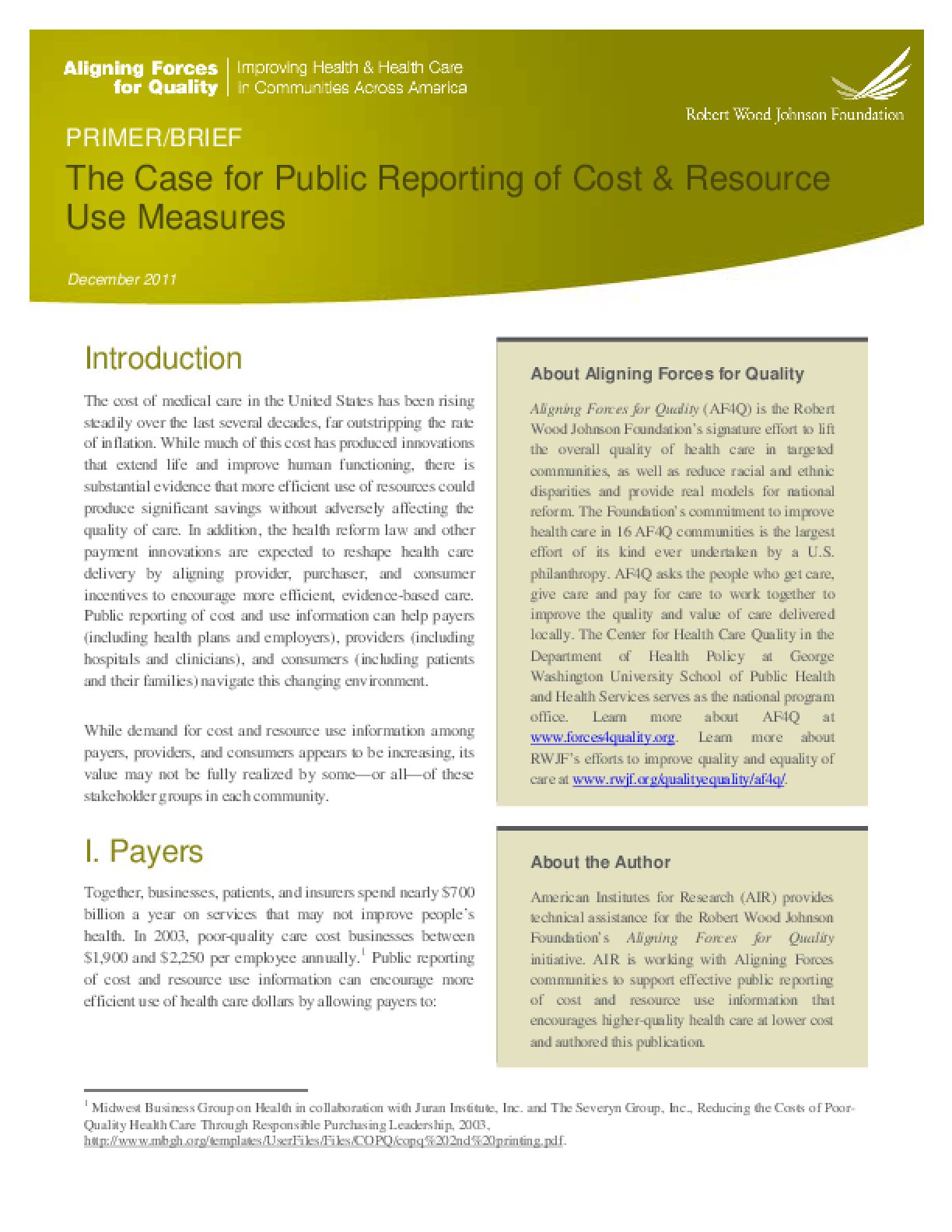 The Case for Public Reporting of Cost & Resource Use Measures