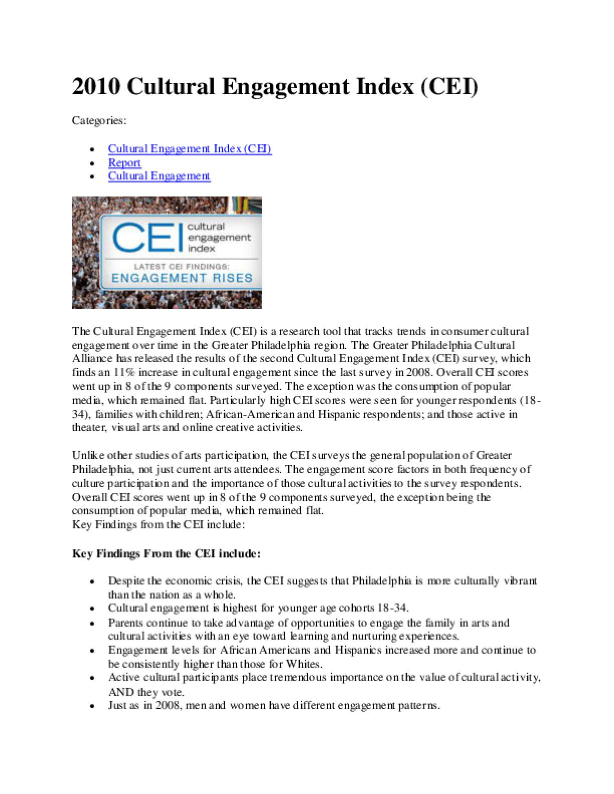 CEI2010: Philadelphia Cultural Engagement Index