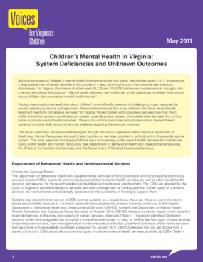 Children's Mental Health in Virginia: System Deficiencies and Unknown Outcomes