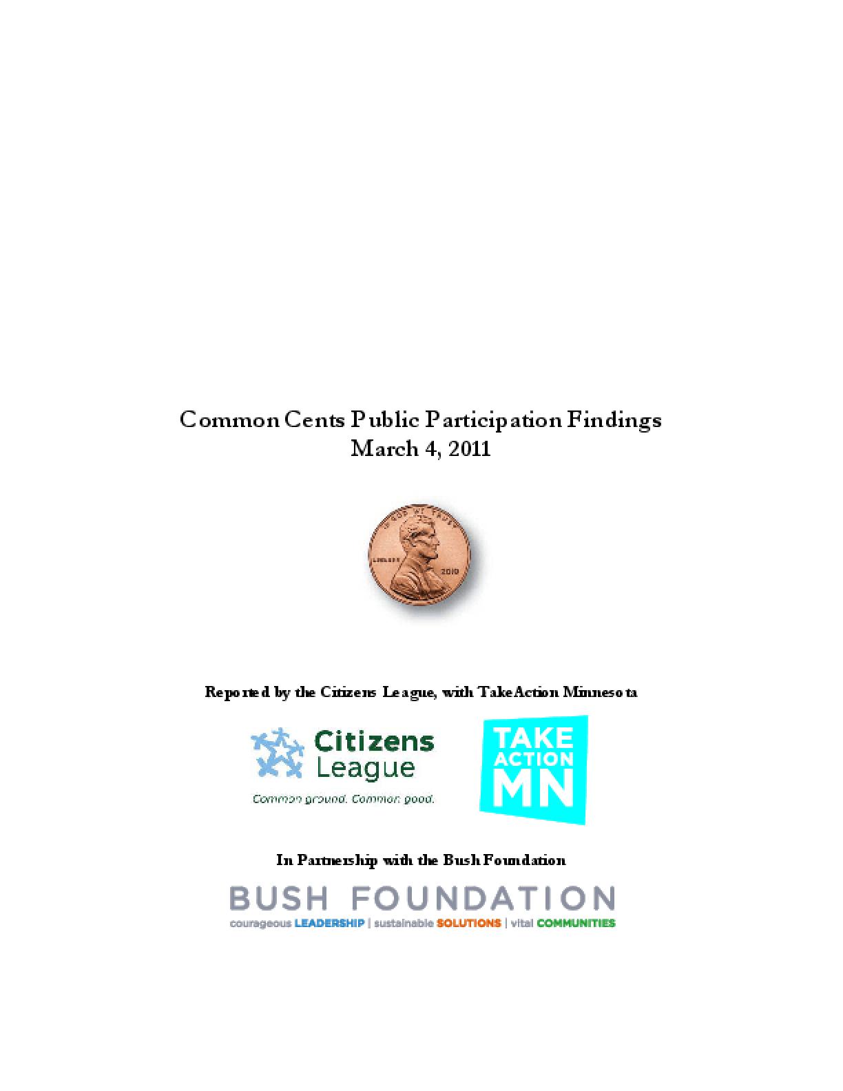 Common Cents Public Participation Findings