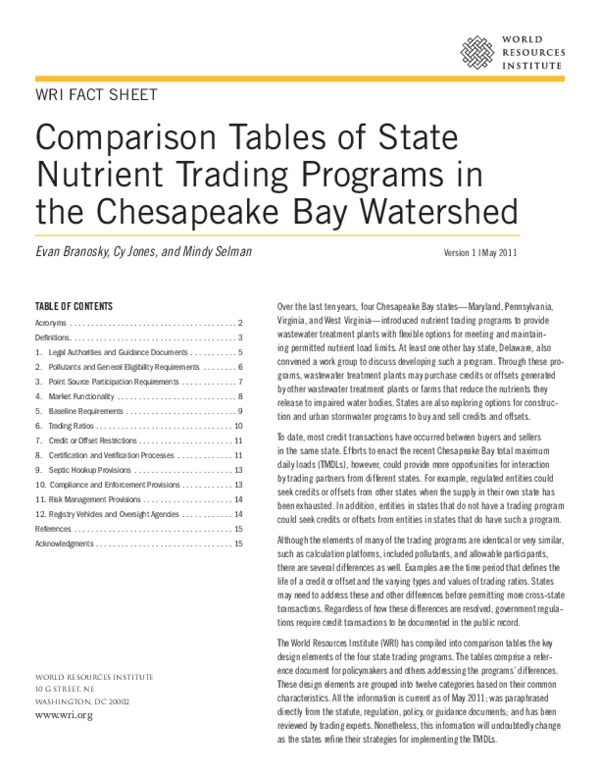 Comparison Tables of State Nutrient Trading Programs in the Chesapeake Bay Watershed