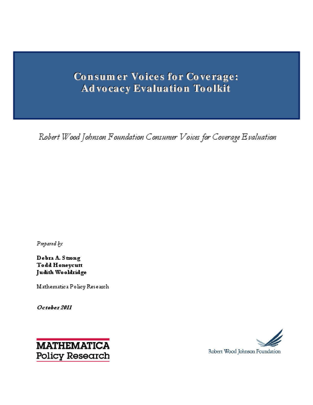 Consumer Voices for Coverage: Advocacy Evaluation Toolkit