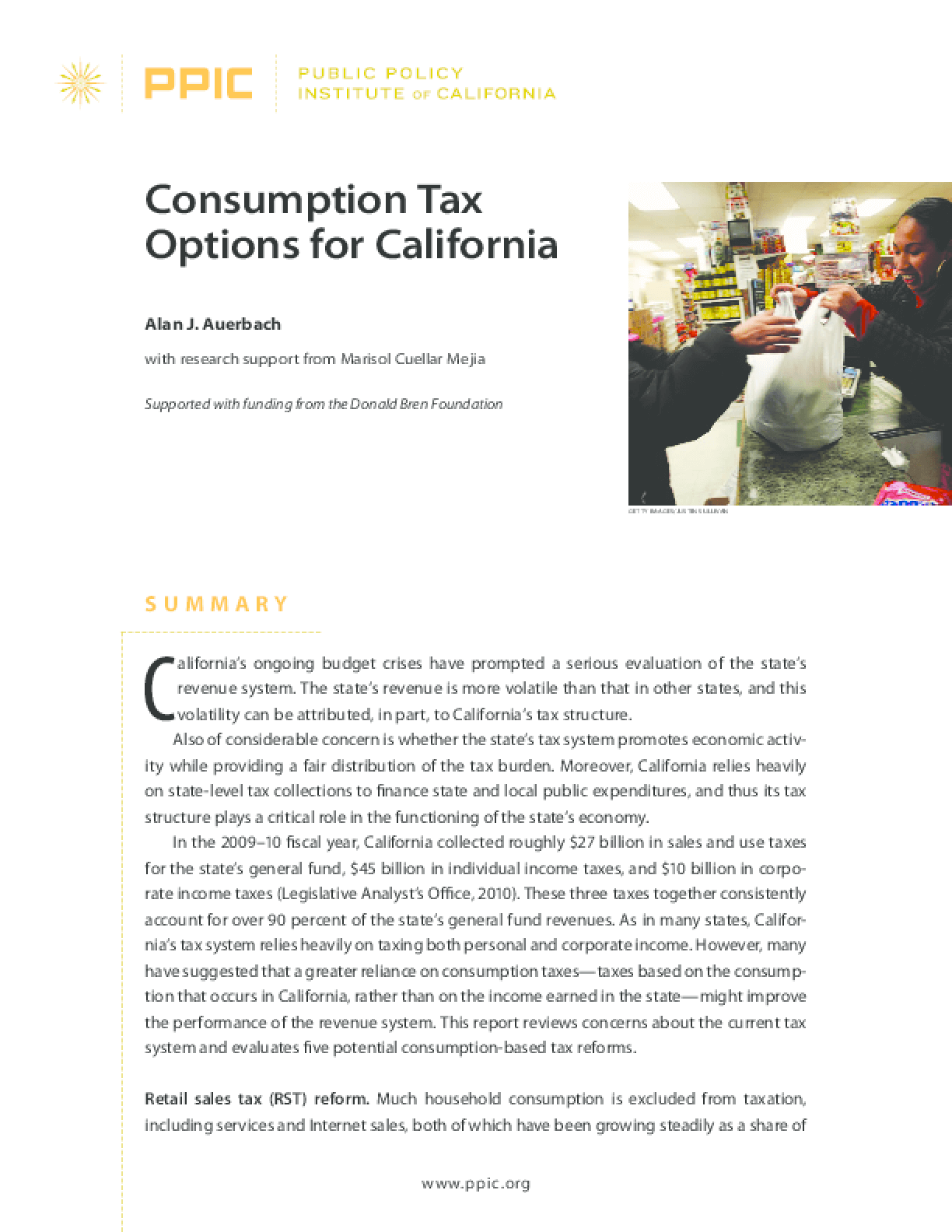Consumption Tax Options for California