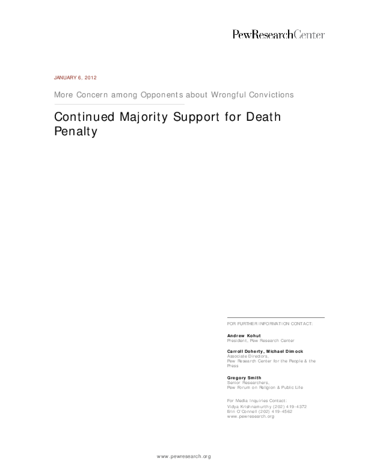 Continued Majority Support for Death Penalty