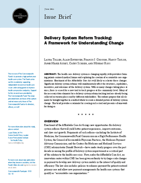 Delivery System Reform Tracking: A Framework for Understanding Change