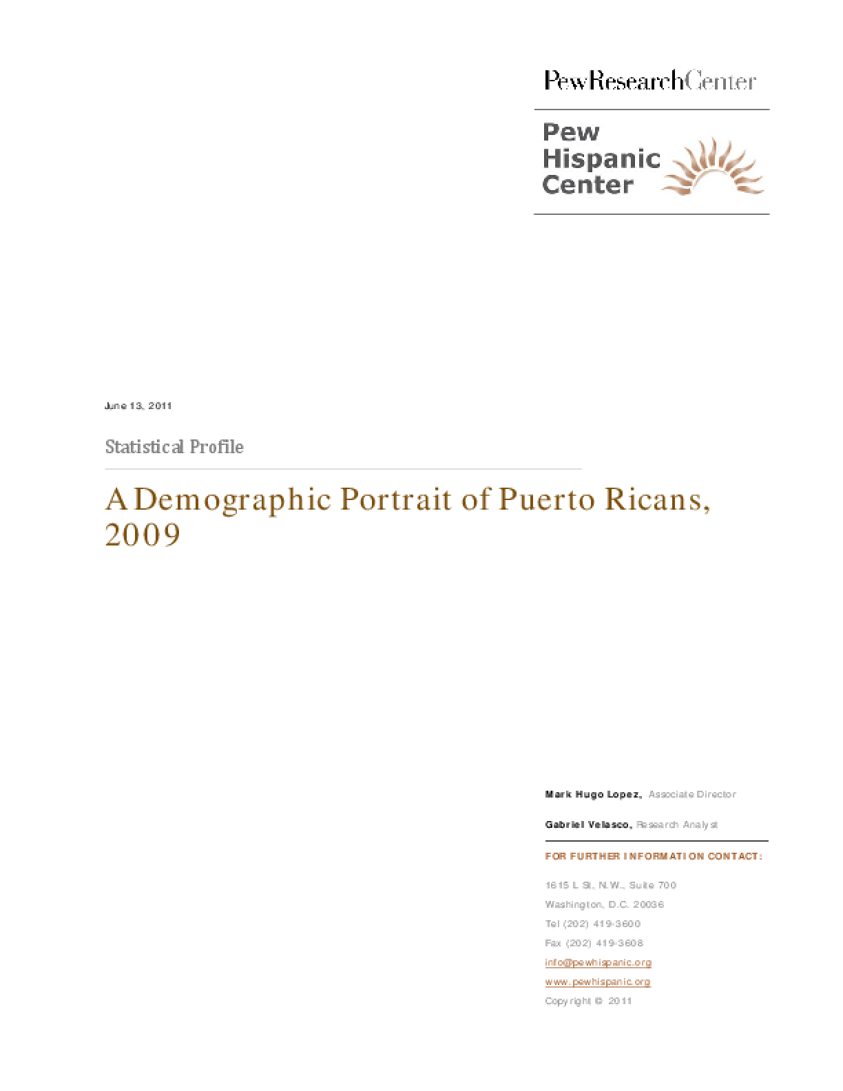A Demographic Portrait of Hispanics in Puerto Rico