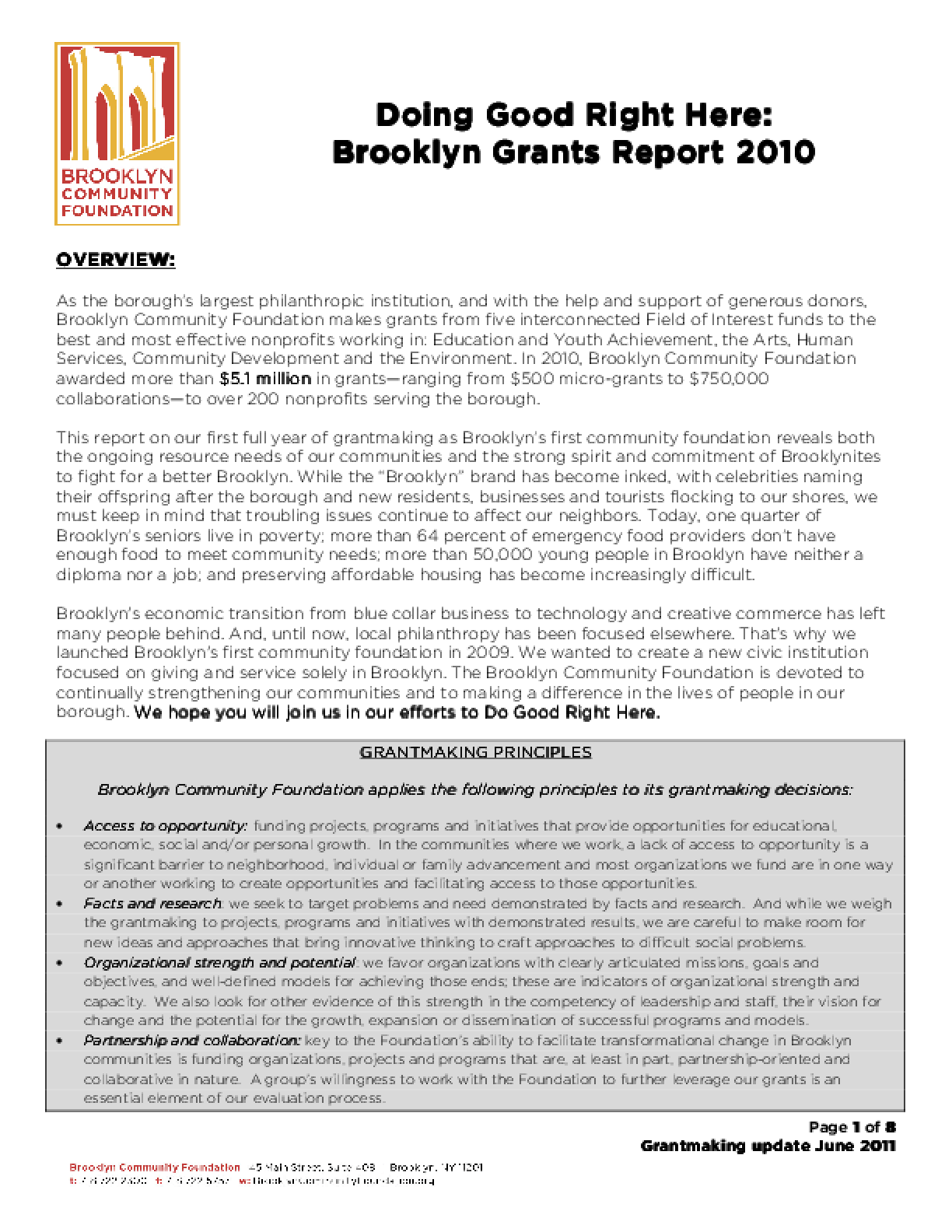 Doing Good Right Here: Brooklyn Grants Report 2010