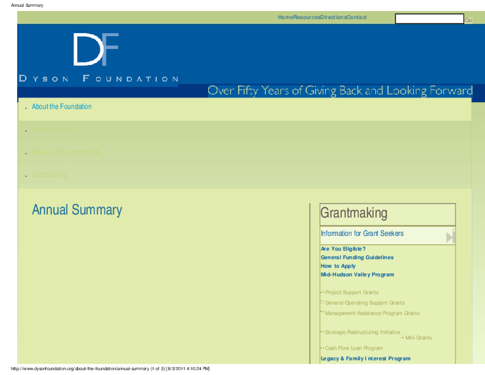 Dyson Foundation 2010 Annual Report