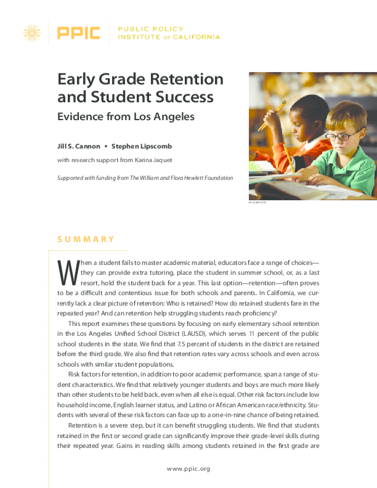 Early Grade Retention and Student Success: Evidence From Los Angeles