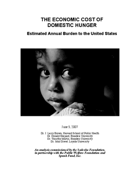 The Economic Cost of Domestic Hunger: Estimated Annual Burden to the United States