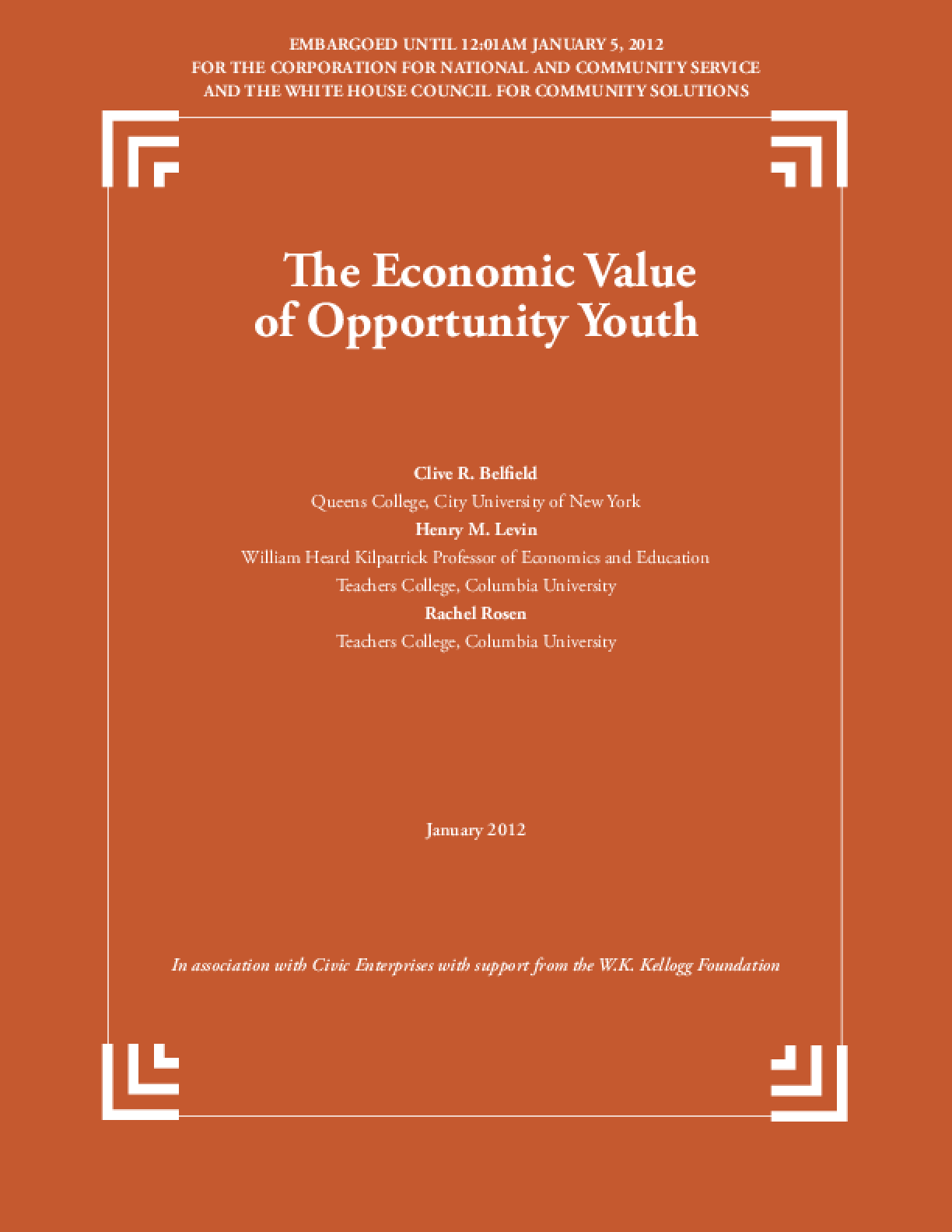 Economic Value of Opportunity Youth, The