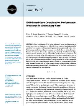 EHR-Based Care Coordination Performance Measures in Ambulatory Care