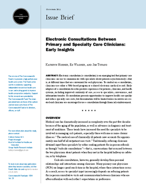 Electronic Consultations Between Primary and Specialty Care Clinicians: Early Insights
