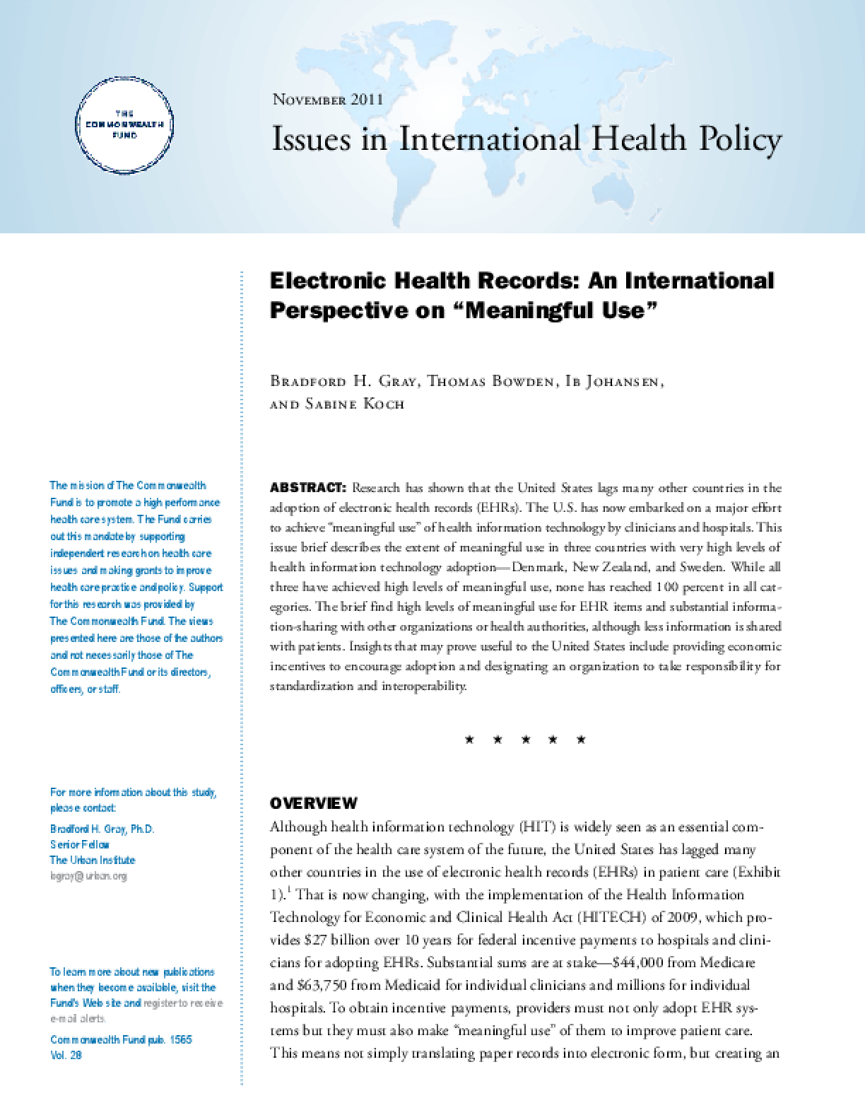 "Electronic Health Records: An International Perspective on ""Meaningful Use"""