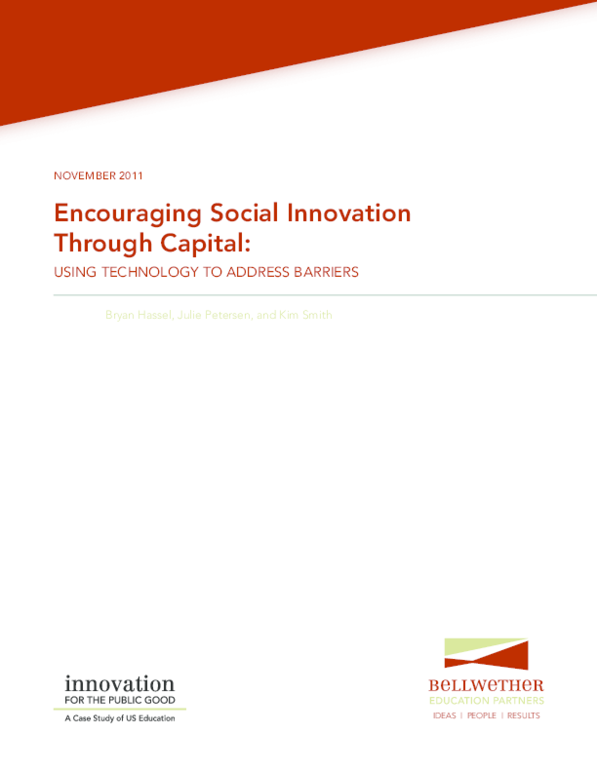 Encouraging Social Innovation Through Capital: Using Technology to Address Barriers