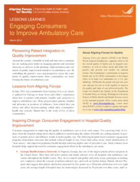 Engaging Consumers to Improve Ambulatory Care