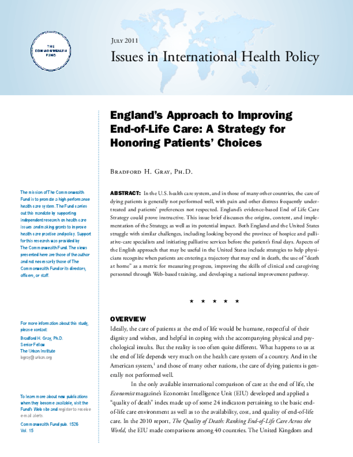 England's Approach to Improving End-of-Life Care: A Strategy for Honoring Patients' Choices
