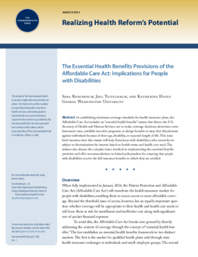 The Essential Health Benefits Provisions of the Affordable Care Act: Implications for People With Disabilities