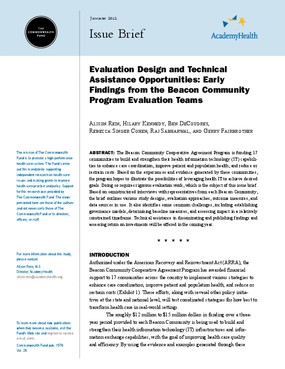 Evaluation Design and Technical Assistance Opportunities: Early Findings From the Beacon Community Program Evaluation Teams