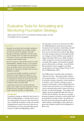 Evaluative Tools for Articulating and Monitoring Foundation Strategy