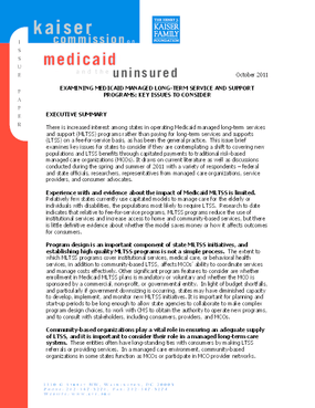 Examining Medicaid Managed Long-Term Service and Support Programs: Key Issues to Consider