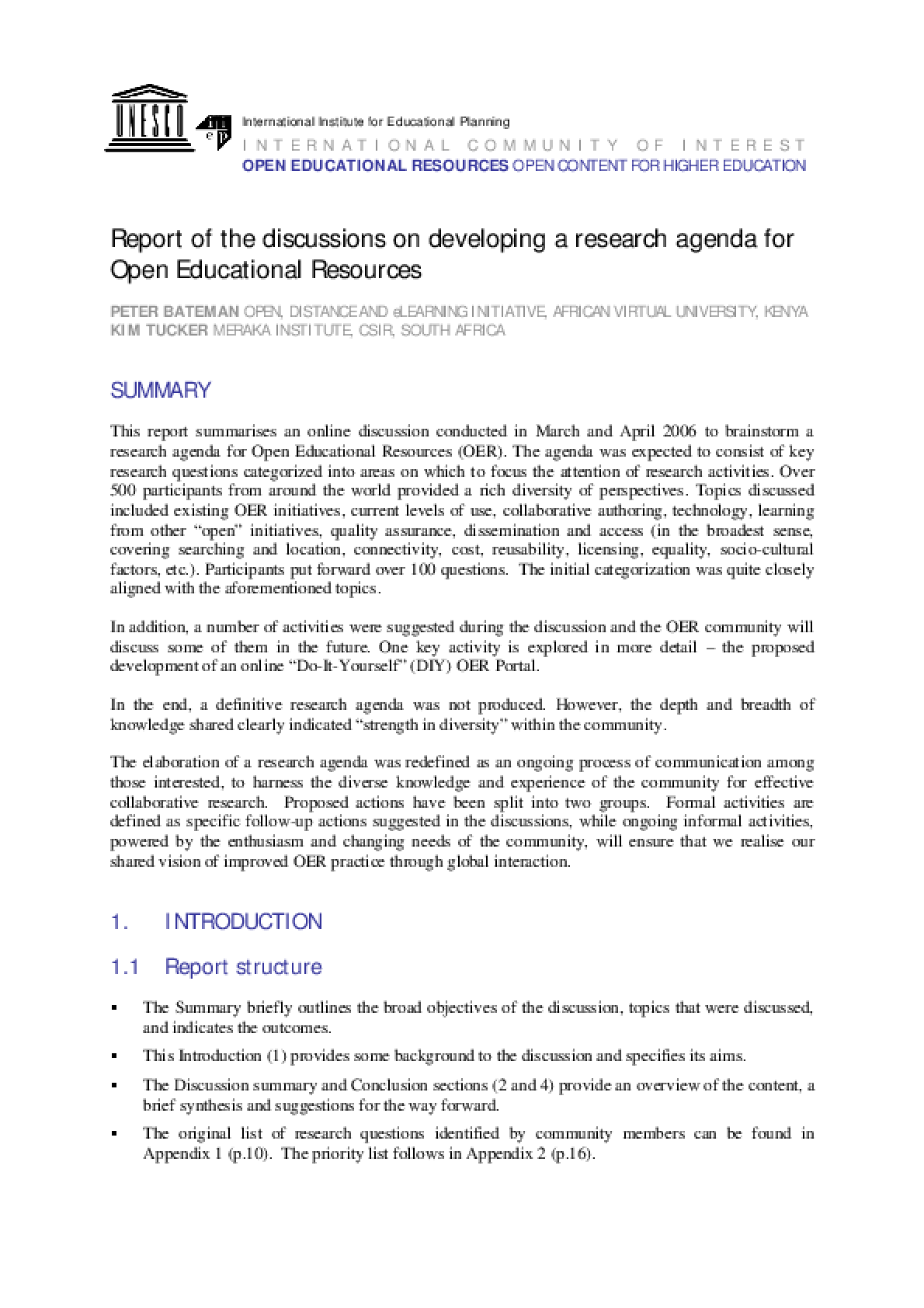 A Research Agenda for OER: discussion highlights