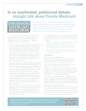 Florida Medicaid - An Updated Assessment, April 2011