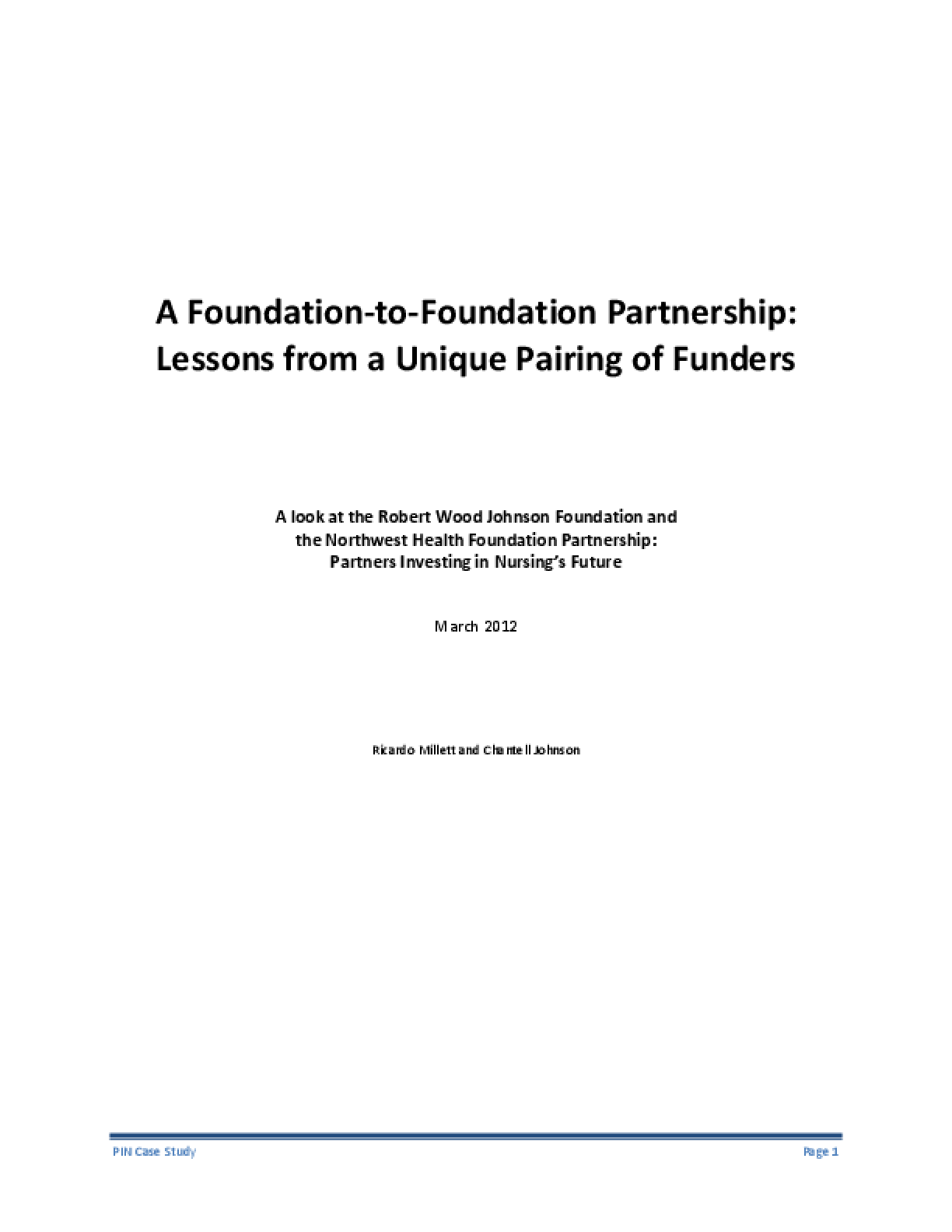 A Foundation-to-Foundation Partnership