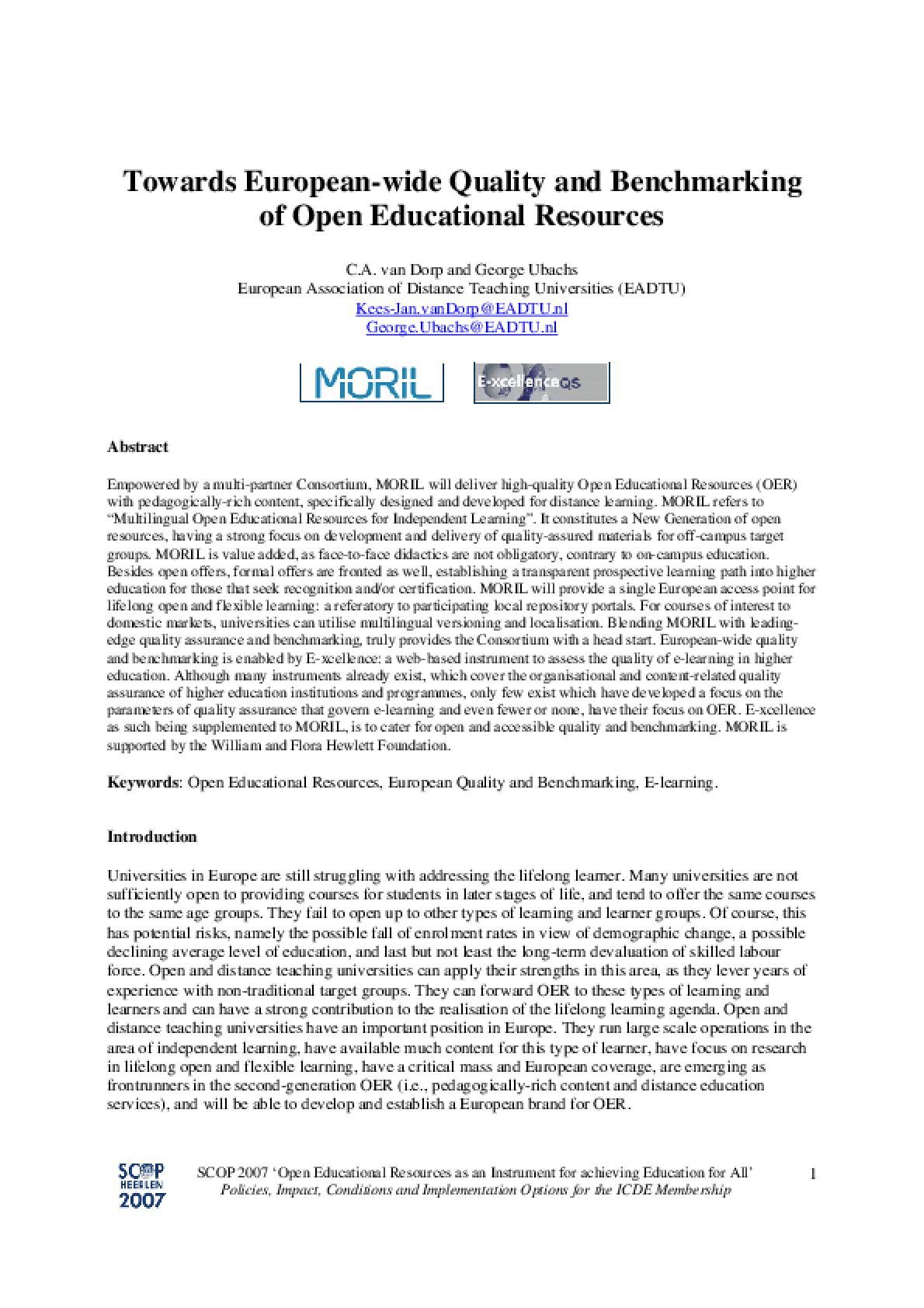 Towards European-wide Quality and Benchmarking of Open Educational Resources