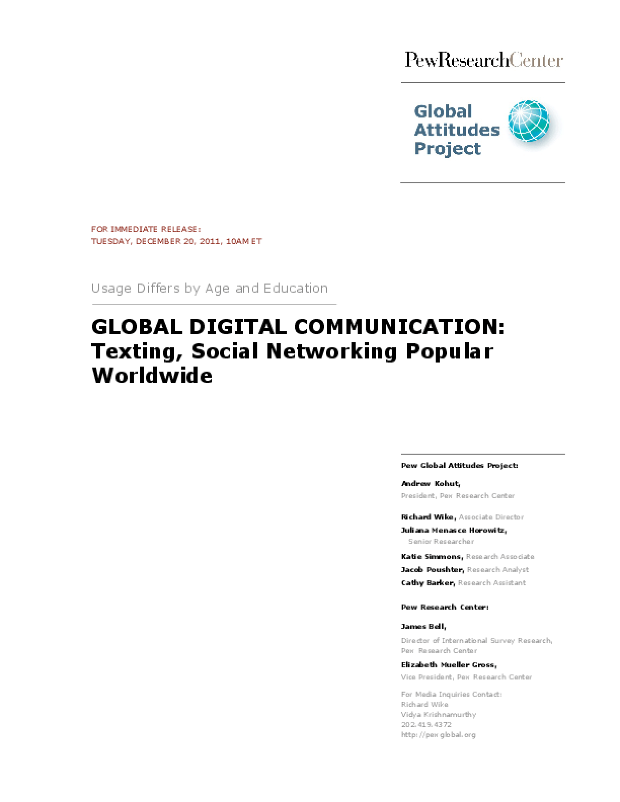 Global Digital Communication: Texting, Social Networking Popular Worldwide