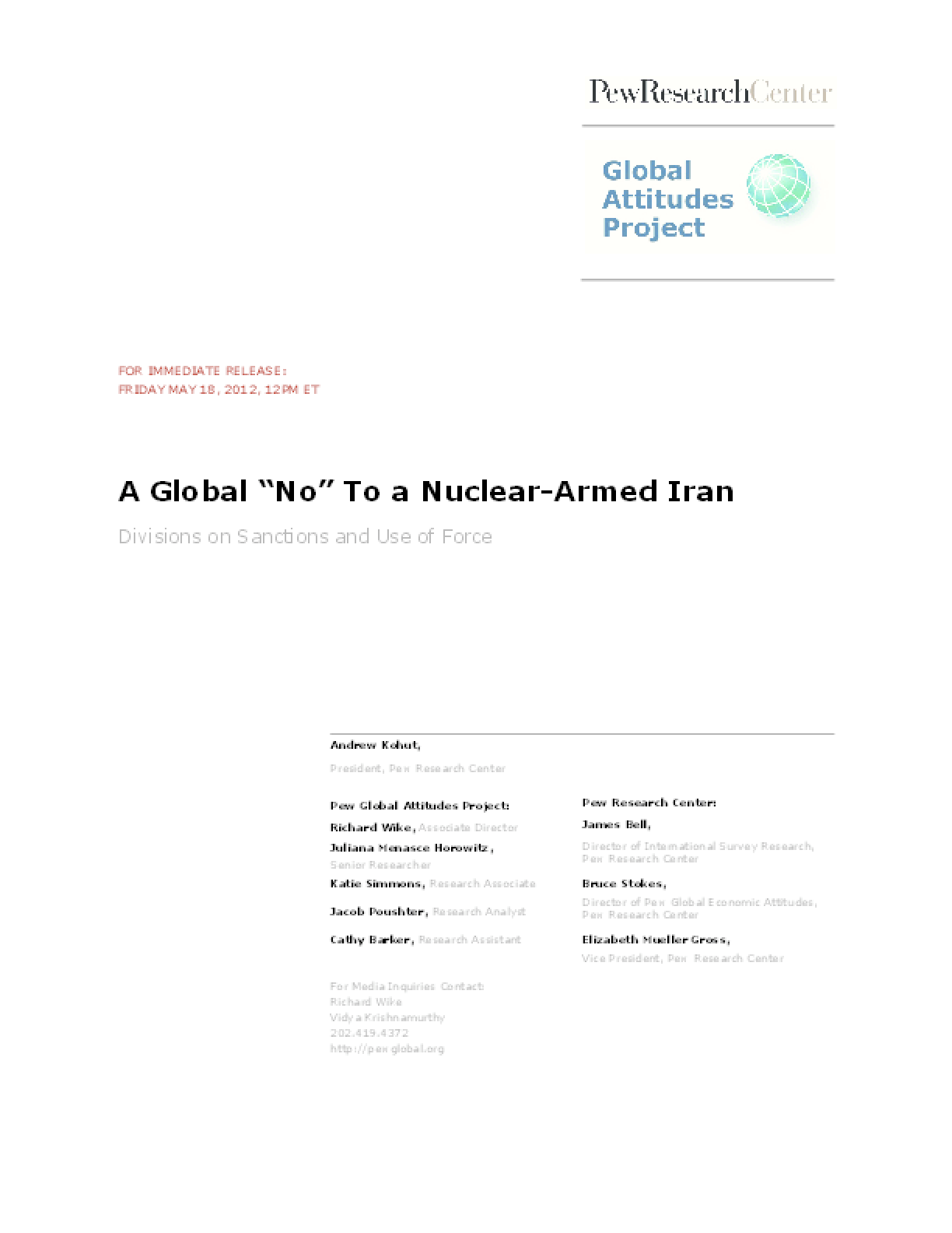 "A Global ""No"" to a Nuclear-Armed Iran"