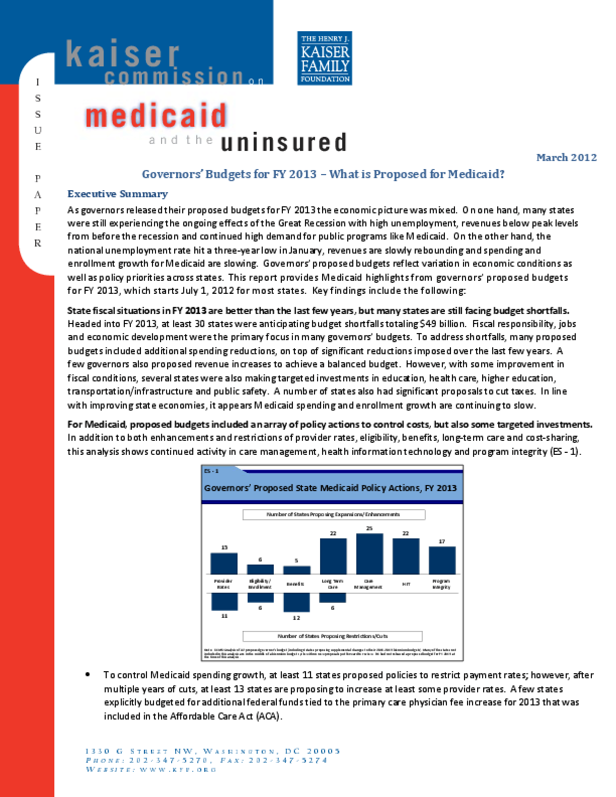 Governors' Budgets for FY 2013 - What Is Proposed for Medicaid?