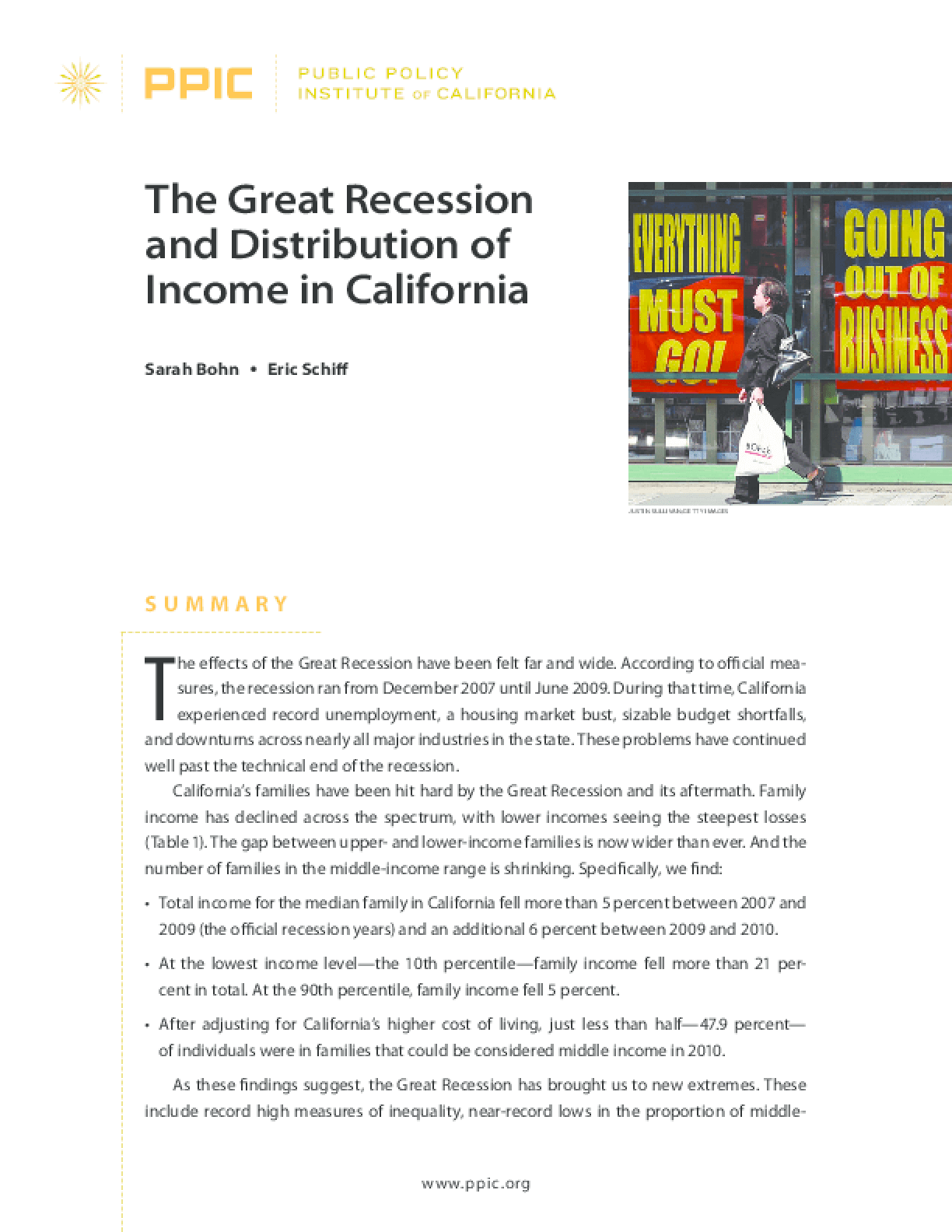 The Great Recession and Distribution of Income in California