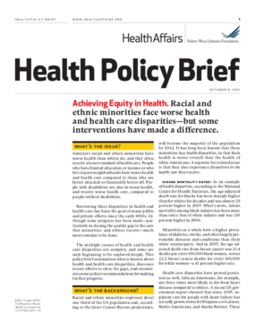 Health Affairs/Robert Wood Johnson Foundation Health Policy Brief: Achieving Equity in Health