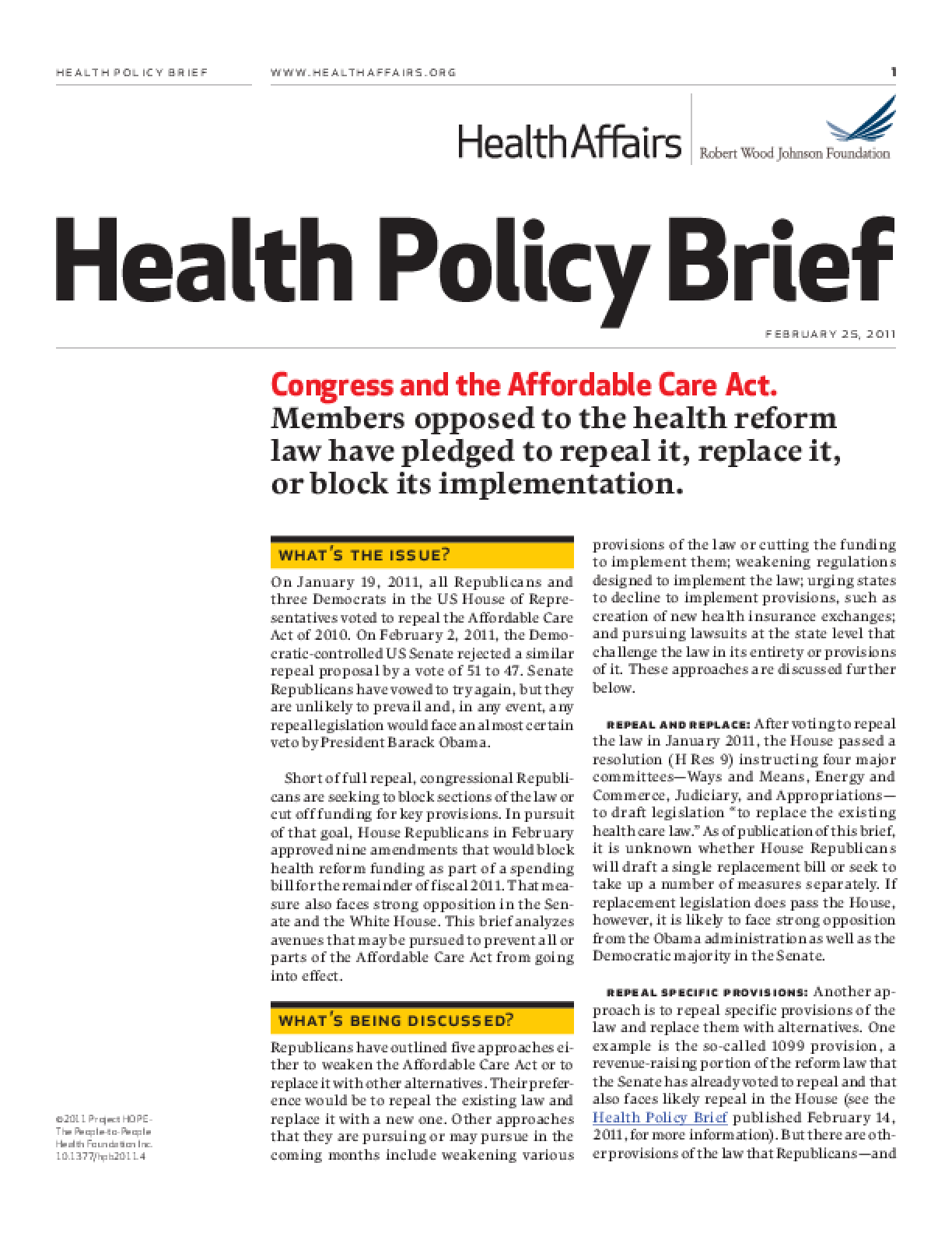 Health Affairs/RWJF Health Policy Brief: Congress and the Affordable Care Act