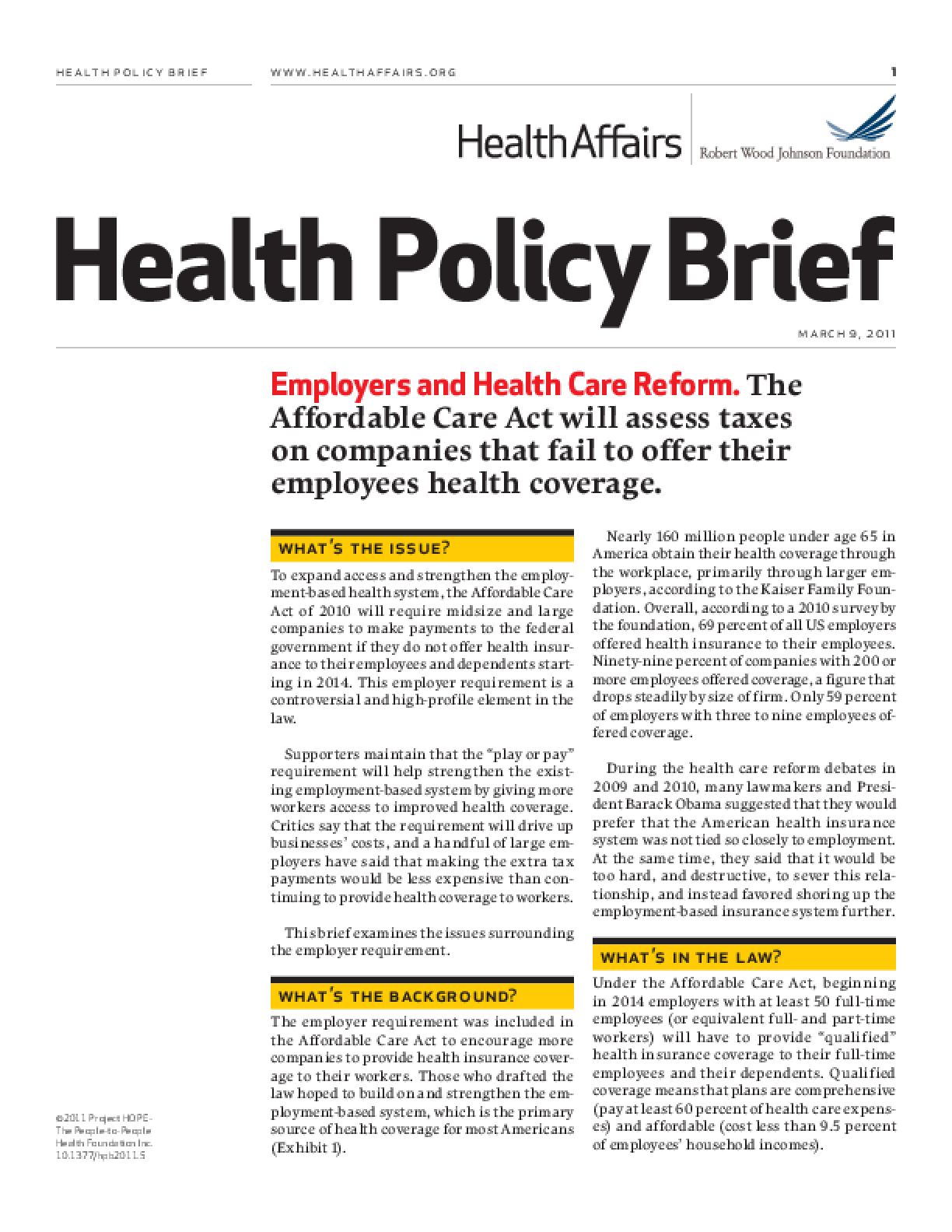 Health Affairs/RWJF Health Policy Brief: Employers and Health Care Reform