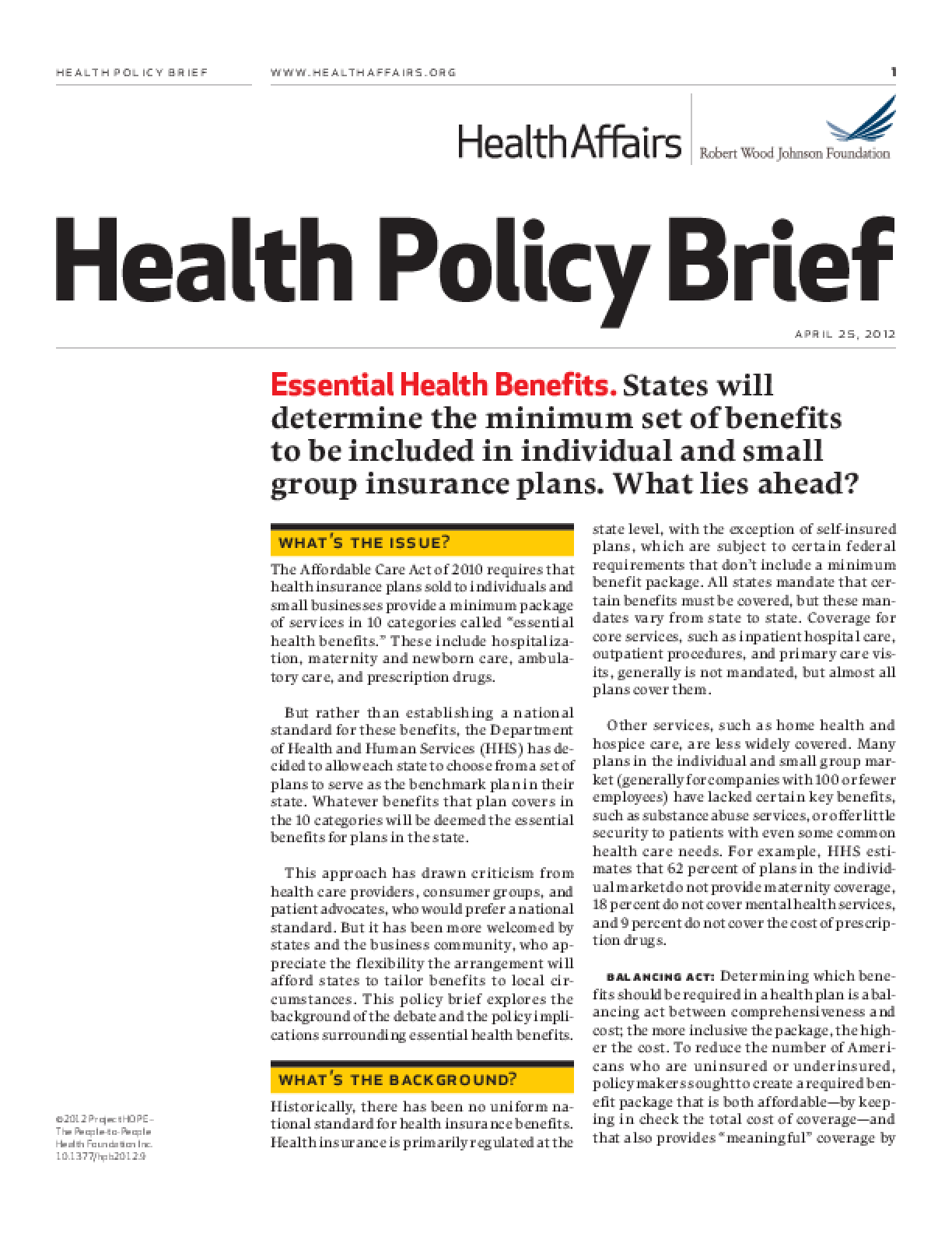 Health Affairs/RWJF Health Policy Brief: Essential Health Benefits