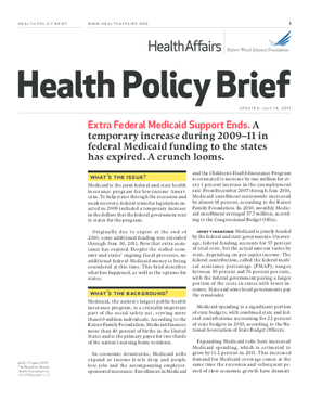 Health Affairs/RWJF Health Policy Brief: Extra Federal Medicaid Support Ends